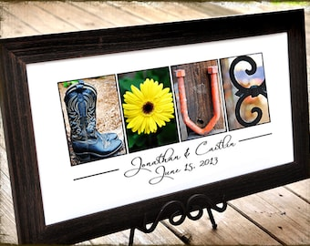 Rustic Wedding Gift Idea,  LOVE in COLOR Letter Photography, personalized wedding, UNFRAMED print