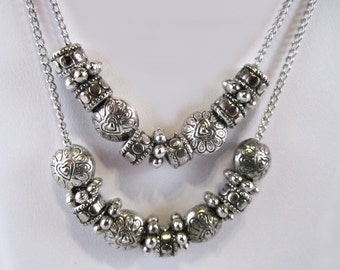 Silver Plated Double-Strand Beaded Chain Necklace