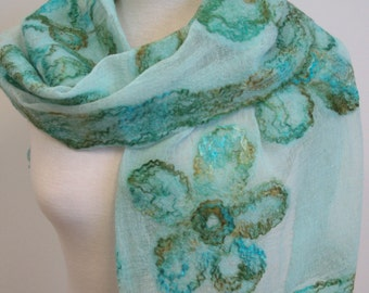 Hand Dyed, Nuno Felt Scarf on Cotton, Flowers in Jade and Rust