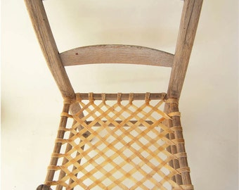 Ladderback Chair with 2 Rungs, Early American Furniture,  Folkart, Aurora Commune, Oregon, Primitive, Antique, Rawhide Seat