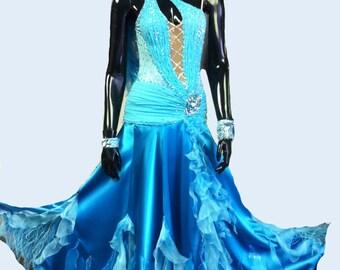 Ballroom  Dance  Dress of   Blue  color