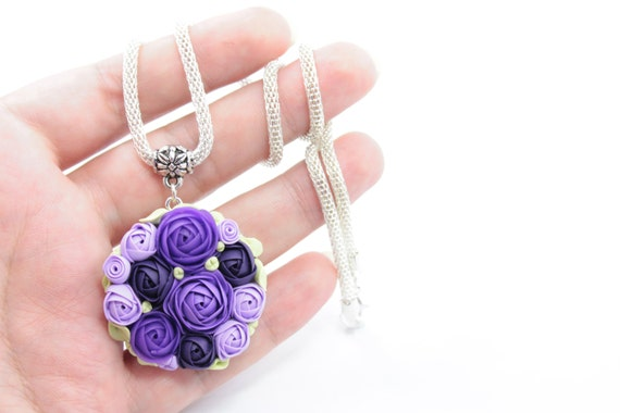 Flower necklace-- wedding --Purple, Green