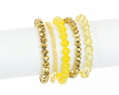Sparkly Gold Bracelet Set- Golden Stretch Bracelets