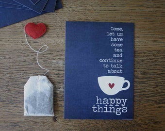 Tea Lover Birthday Card - Tea and Happy Things Greeting Card for Friend Navy Blue Teacup Card