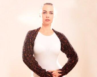 Knit Wool Shrug, Dark Brown Shrug, Mohair Knitted Shrug by Solandia, Winter women Christmas Gift