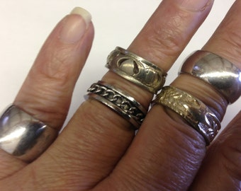 Antique Costume Rings Silver tone Vintage lot 539