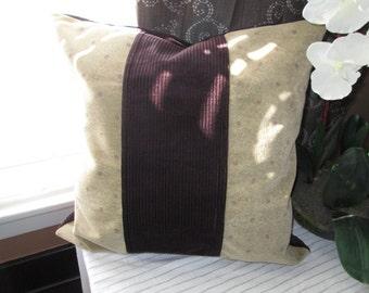 SALE Velvet Corduroy Purple Beige Home Decor Pillow Cover 18 inches x 18 inches Durable