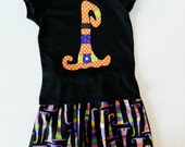 2 piece- Tween, girl, toddler, baby Halloween skirt funky hats, witch hat shirt applique NB 3m 6m 12m 18m 24m 2T 3T 4T 5T 6 7 8 10 12 14 16