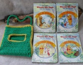 Vintage Winnie the Pooh & Friends Book Set  (with new green crochet carry bag)