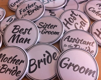 50 Wedding Party Name Tag Buttons