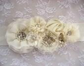 Bridal Sash, Bridal Sash Ivory or White Wedding Sash Elegant and Classic