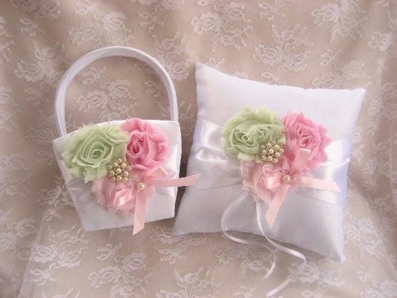 Vintage Flower Girl Basket And Ring Bearer Pillow : Flower girl basket ring bearer pillow pink by nanarosedesigns