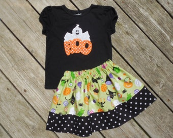 Girl's Toddlers Skirt and Shirt Halloween Outfit - Halloween Skirt with Cute Ghost Applique Shirt