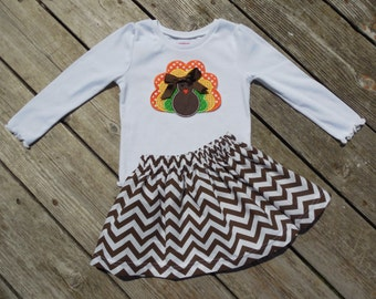 Girl's Toddlers Skirt and Shirt Thanksgiving Outfit - Brown Chevron Skirt with Turkey Applique Shirt