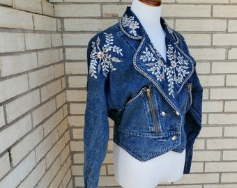 1980's Jacket Stone Washed Denim Silver Flowers Womens Vintage Medium