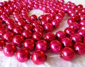 Vintage Christmas hot pink garland large glass beads on string
