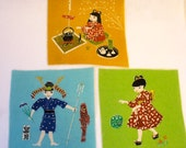 Set of 3 Vintage Japanese Hand Printed Fabric Squares Hand Painted Children Making Tea Young Samurai Playing with Ball Japan
