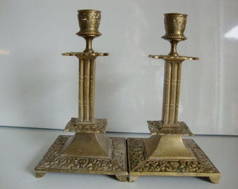 Vintage Pair Brass Candle Holder,, Ornate Candlestick Holders, 7 Inch Candle Holders