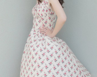 Flirty 50's Style Shelf Bust Halter Dress with Rockabily Appeal Bridesmaid dress - Ready to Ship