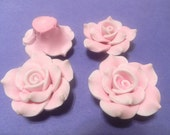 4 Fimo Polymer Clay Light Pink White Flower Large Rose Fimo Beads 40mm