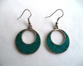 Crushed turquoise earrings/ vintage Mexico Alpaca silver earrings/ turquoise inlay hoop earrings