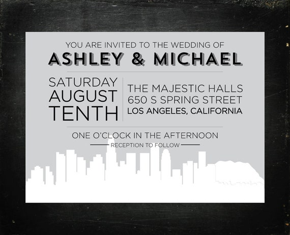 Los Angeles Wedding Invitations: Items Similar To Los Angeles, California Wedding