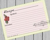 Cheerful Cherry Recipe Cards 4x6 Printable 3x5 Bridal Shower Recipe Card Country Kitchen 3 Sizes