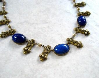 Vintage Art Deco Necklace Blue Glass Cabochon Etruscan Faux Pearl