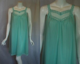 1960s Vanity Fair Green Nightgown, small, A Line