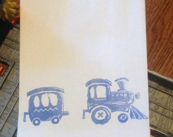 Train Caboose 6 Birthday Party White Paper Favor Bags Blue Stamp Choo choo Fill with treats favors cookie candy buffet toys crayons