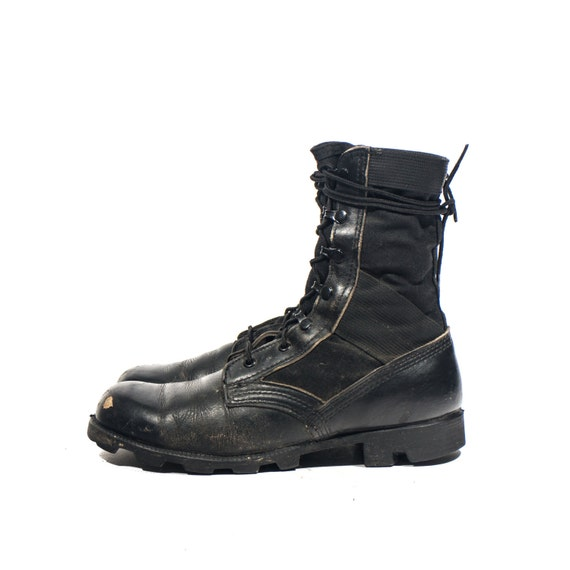 7.5 R Black Jungle Boots Military Vintage Combat Boots Nylon