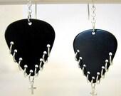 Guitar Pick Earrings - Black and Silver Chain Link earrings