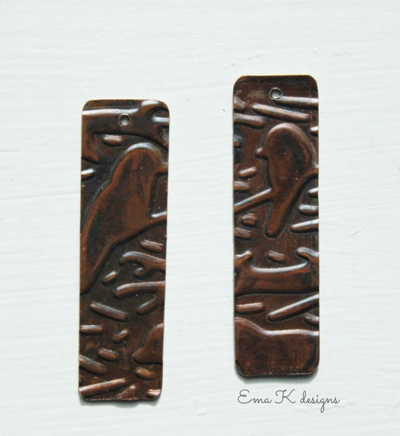 Love Birds copper jewelry components handmade by Ema Kilroy sra earring components copper jewelry supplies metal beads