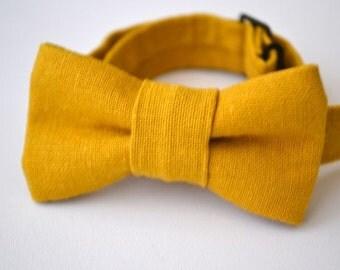 Infant Bow Tie in Mustard Yellow Linen- Newborn Bowtie