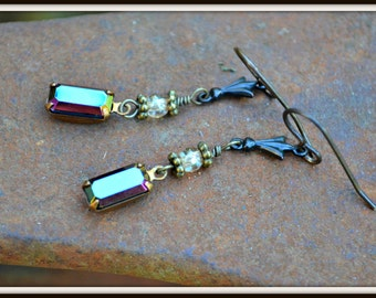 Aurora Borealis Earrings sparkling vintage glass earrings