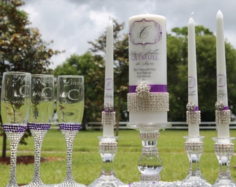Mommy, Daddy and Me.........Pure Diamond Unity Candles, Holders, Flutes and server sets