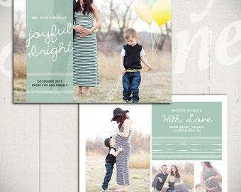 Christmas Card Template: Happiest Holidays D - 5x7 Holiday Card Template for Photographers