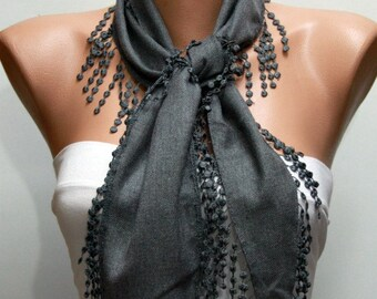 Gray Chain Pashmina Scarf, Summer Scarf,Cowl Scarf,Necklace,Bridesmaid Gift,Gift Ideas For Her,Women Fashion Accessories,Teacher  Gift