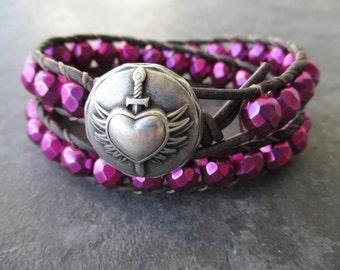Valentine's Day Winged heart leather wrap bracelet - Tough Love - magenta fuschia pink love wings dagger boho by slashKnots