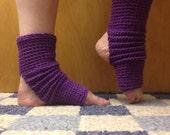 Yoga Socks in  Black Currant Purple Cotton US Grown -- for Dance, Pilates, Pedicures