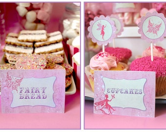 Fairy Party Labels - INSTANT DOWNLOAD - DIY Editable & Printable Birthday Party Decorations by Sassaby