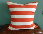 """Set of 2-24"""" Orange and White Stripes Pillow Cover, Free U.S. Shipping"""