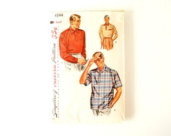 Vintage 1950s Simplicity Pattern 4544, Man's Sport Shirt, Father and Son Fashion (Complete / Unused, Size Small) - Collectible, Altered Art