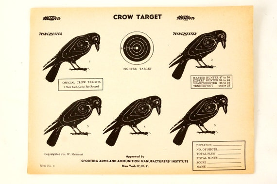 Vintage Winchester Crow Shooting Target c.1950s (12 x 9 inches) - Collectible, Home Decor, Paper Projects, and more