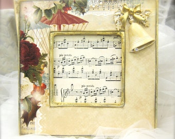 Holiday Christmas Frame Jeweled Bling Gold Red Roses