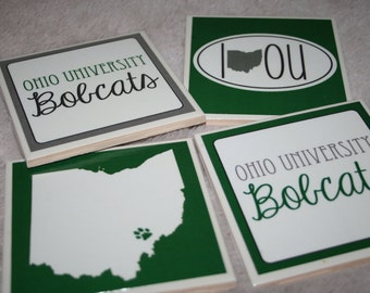 4 Ohio University Bobcats Coasters