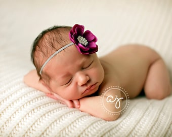 Baby Headband..Purple and Gray Flower Headband..Infant..Newborn Headband..Purple Flower Gray Headband..Purple Flower..Newborn Photo Prop