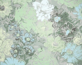Retro Wallpaper by the Yard 70s Vintage Wallpaper - 1970s Green and Blue Floral