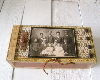 Vintage cigar box wooden art embellished antique family photo buttons ruler