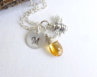 Sterling Silver Honey Bee Birthstone Necklace -- Personalized Initial -- Choose Your Stone (Citrine Shown)